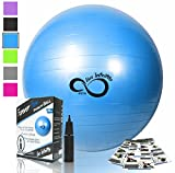 Live Infinitely Exercise Ball (55cm-95cm) Extra Thick Professional Grade Balance & Stability Ball- Anti Burst Tested Supports 2200lbs- Includes Hand Pump & Workout Guide Access Blue 65cm