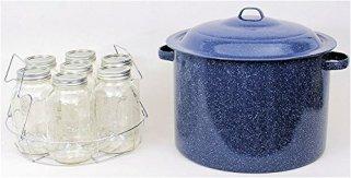 Granite-Ware-High-Capacity-Enamel-on-Steel-Water-Bath-Canner-with-Chrome-Jar-Rack-Blue
