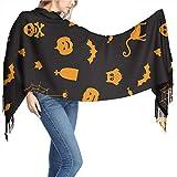 Halloween Pumpkin Spider Owl Ghost Black Scarf Wrap Soft Neckerchief