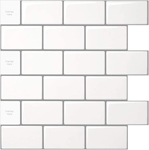 Amazon Com 10 Sheet Peel And Stick Tile For Kitchen Backsplash 12x12 Inches White Subway Tile With Grey Grout Home Kitchen