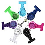 Product review of Plastic Nurses Lapel Watch Clip-on Fob Brooch Hanging Pocket Watch for Man and Women Black/White/Purple/Green/Blue/Navy/Pink (Pack of 7) Good for Man and Women