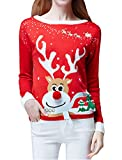 Product review for V28 Women's Ugly Christmas Sweater, Ladies Girls Cute Reindeer 3D Nose Sweater