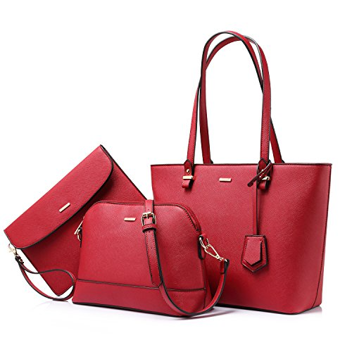 Handbags for Women Tote Bag Shoulder Bags Fashion Satchel Top Handle Structured Purse Set Designer Purses 3PCS PU Stand Gift Hot Rose Red