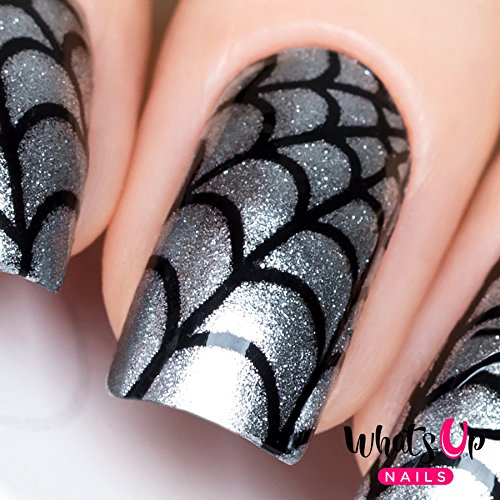 Whats Up Nails - Spider Web Nail Stencils Stickers Vinyls for Nail Art Design (1 Sheet, 12 Stencils)