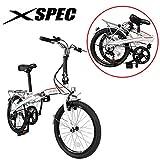 Xspec 20' 7 Speed City Folding Mini Compact Bike Bicycle Urban Commuter Shimano White