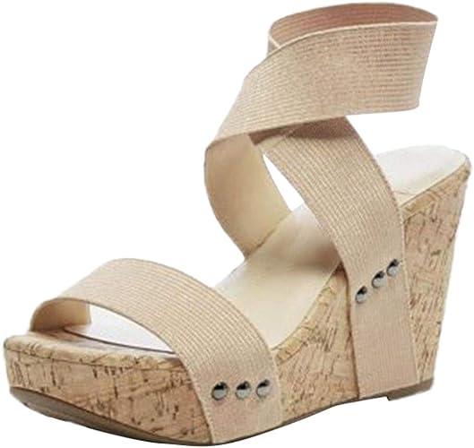 Sandalias de cuña Mujer Mosstars Mujer Moda Casual Hebilla Sandalias tipo Romanos Sandalias de Vestir