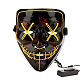 Halloween Costume Festival Parties Scary Mask LED Light Up Masks Yellow