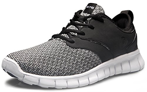 TSLA Men's Lightweight Sports Running Shoes, Flex Groove(x574) - Black, 10.5