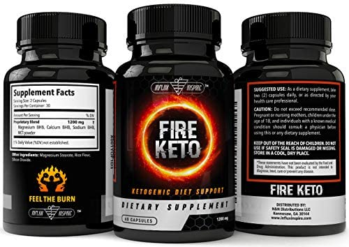 Keto BHB Ketogenic Dietary Supplement Pills - Exogenous Ketone Salt Capsules to Boost Energy and Metabolism - Burn Fat and Support Healthy Ketosis Weight Loss - FIRE Keto - 60 Capsules 10