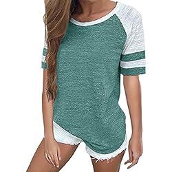 YOTGAP Women's Baseball Tees Shirts Short Sleeve Color Block Loose Tunics Blouses Tops Green 1 S