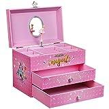 SONGMICS Large Ballerina Musical Jewelry Box, Unicorn for Little Girls, Music Storage Box with 2 Pullout Drawers UJMC007PK