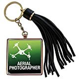 3dRose KIKE CALVO Drone and Unmanned Vehicle Collection - Green and Black Drone with Aerial Photographer words - Tassel Key Chain (tkc_179924_1)