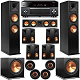 Klipsch 11.2 Dolby Atmos Home Theater System with RP-280F Tower Speakers, 450C Center, R-115 Subwoofers, 250s Surround, CDT-5800CII Ceiling, with Yamaha RX-A3070 Receiver