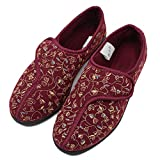 Orthoshoes Womens Diabetic Slippers Swollen Feet Orthopedic House Shoes Extra Wide Width for Elderly, Seniors, Edema Red
