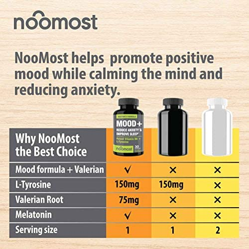 Mood Support - Anxiety Relief Supplement Mood Boosts, Reduces Stress Relief & Depression - L Tyrosine, Ashwagandha, 5 HTP, Passion Flower, L Theanine, GABA, Valerian Root, Rhodiola Rosea by NooMost 3