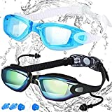 COOLOO Swim Goggles, Pack of 2, Swimming Goggles for Adult Men Women Youth Kids Child, Triathlon Equipment, with Mirrored & Clear Anti-Fog, Waterproof, UV 400 Protection Lenses, Made