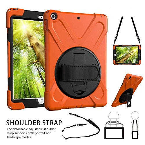 iPad 9.7 Case, TSQ iPad 5th 6th Generation Case Cover for Kids Girl, Durable Protective Defender Car Case with 360 Rotation Stand, Handle Hand Strap,Shoulder Strap for Model A1954 A1822 A1823 Orange