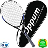 oppum Adult Carbon Fiber Tennis Racket, Super Light Weight Tennis Racquets Shock-Proof and Throw-Proof,Include Tennis Bag Tennis Overgrip (Aluminum-Carbon Racquet(Balck Blue), 4 3/8)