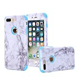 for iPhone 7 Plus Case, iPhone 8 Plus Case, ASSUR 3-in-1 Unique Marble Design Slim Anti-Scratch Shockproof Anti-Finger Dust Proof Protective Ultra Hard Premium Cover Case for iPhone 7 Plus (Blue)