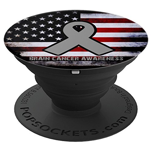Brain Cancer Awareness Ribbon American Flag Popsockets - PopSockets Grip and Stand for Phones and Tablets
