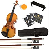 Mendini 1/2 MV400 Ebony Fitted Solid Wood Violin with Hard Case, Shoulder Rest, Bow, Rosin, Extra Bridge and Strings