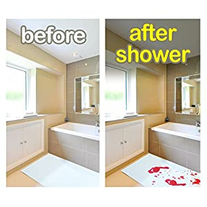 Bloody Bath Mat – Color Changing Sheet Turns Red When Wet – Make Your Own Bleeding Footprints that Disappear White – 1mm Thick Sheet, For Shower / Bathroom – Regular Size 16x39in (420x1000mm)