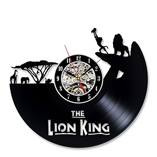 Lion King Vinyl Record Cool Black Wall Clock Gift