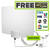 Mohu Leaf 50 Indoor HDTV Antenna, Amplified, 60 Mile Range, Original Paper-Thin, Reversible, Paintable, 4K-Ready, 16 Foot Detachable Cable, Premium Materials for Performance, USA Made, MH-110599