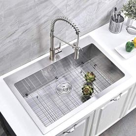 Friho-33x-22-Inch-18-Gauge-Commercial-Large-Topmount-Drop-in-Single-Bowl-Basin-Handmade-SUS304-Stainless-Steel-Kitchen-SinkBrushed-Nickel-Kitchen-Sinks-With-Dish-Grid-and-Basket-Strainer