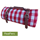 RealPero Extra Large Picnic Blanket Family Size High-end Fabric with PU Carrier Classic Red White Plaid Waterproof Light Weight and Portable Skin Friendly Outdoor Mat for Travel Lawn Sand-Proof Beach