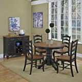 French Countryside Black/Oak 42' Round Pedestal Dining Table with 4 Chairs by Home Styles
