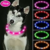 Vizbrite Led Dog Collar, USB Rechargeable Flashing Pet Safety Collar, Cut to Revise Length Silicon Dog Collar for Small Medium Large Dogs by (Pink)