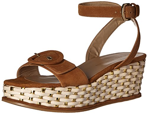 51ZBkR4O8RL Sandal featuring platform wedge woven with slender metallic straps Adjustable ankle strap with buckle closure at side and elastic inset at back