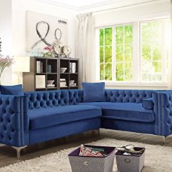 Iconic Home Mozart Right Hand Facing Sectional Sofa L Shape Velvet Button Tufted with Silver Nail Head Trim Silvertone Metal Y-Leg with 3 Accent Pillows Modern Contemporary Navy