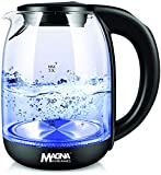 Magna Homewares Glass Electric Kettle for Tea and Hot Water, 2 Liter Large Capacity with LED Light, Auto Shut-Off and Boil-Dry Protection, Stainless Steel Inner Lid and Bottom