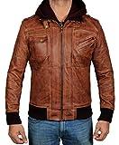 BlingSoul Mens Hooded Leather Bomber Jacket | Hooded Edinburgh, R4