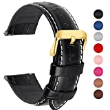 Fullmosa 7 Colors for Quick Release Leather Watch Band, Bamboo Series Genuine Leather Replacement Watch Strap with Stainless Metal Clasp 24mm Black-GD