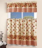 3 Piece Kitchen Curtain Linen set with 2 Tiers 27' W (Total Width 54') x 36' L and 1 Tailored Valance 54' W x 15' L, Orange Yellow Green Pumpkin Autumn Season Leaf Design Kitchen Curtain Décor Linen