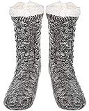 SIMIYA Mens Warm Fleece Lined Winter Soft Non Slip Socks Christmas Gift Mens Slipper Socks(Grey), Medium