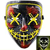 heytech Halloween Scary Mask Cosplay Led Costume Mask EL Wire Light up for Halloween Festival Party (Black-Yellow)