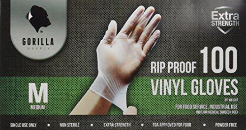 Gorilla Supply 1000 Vinyl Gloves M Case Powder Free(100 of 10) Latex Free Extra Strong Food, Medium deal 50% off 51ZG5r7URBL