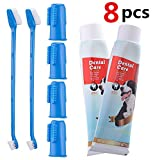 CooZero Dog Dental Care Kit, 2 Pack Dog Toothpaste and Dog Toothbrush Set Pet Soft Toothbrush Dog Finger Toothbrushes Pet Toothbrush for Cats and Dogs - Small to Large Dogs