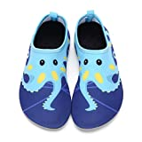 DKRUCAK Kids Swim Water Shoes Baby Boys Girls Toddler Quick-Dry Barefoot Aqua Socks Shoes for Beach Pool Surfing Walking-Blue-Octopus22-23