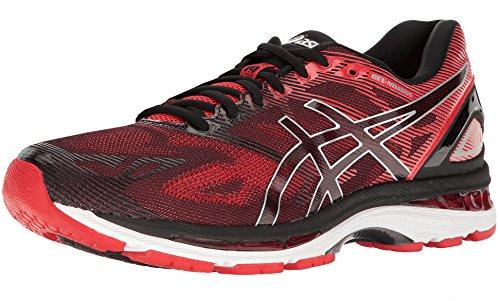 ASICS Men's Gel-Nimbus 19 Running Shoe, Black/Vermilion/Silver, 10 M US