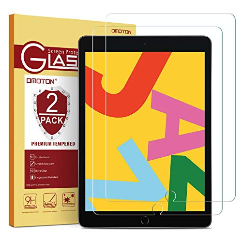 [2 Pack] OMOTON Screen Protector for iPad 7th Generation (10.2 Inch, iPad 7, 2019) / iPad Air 3 2019 / iPad Pro 10.5 – Tempered Glass/High Definition/Bubble Free