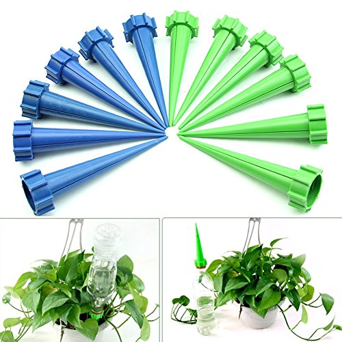 Wrisky 12 Plant Water Flower Control Drip Cone Spike Waterer Bottle  Irrigation System