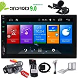 Android 9.0 Touch Screen Car Stereo 7 inch Double Din in Dash Car Radio Video Player GPS Navigation System Support Bluetooth WiFi Mirror Link Wireless Remote External MIC+Camera