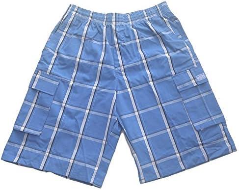 Shaka Wear Men's Men's Cargo Shorts – Casual Plaid Loose Relaxed Loose Fit Elastic Waist Multi Pocket Pants Regular Big S~5XL 5