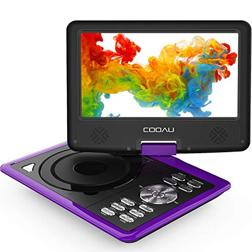 COOAU Portable DVD Player 11.5' with Game Joystick, Swivel HD Screen 9.5', Support Multi-Format, Region Free, Long Lasting Battery with Power Adapter & Car Charger, Support AV-in/AV-Out/SD/USB, Purple