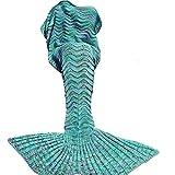 DDMY Mermaid Tail Blanket Crochet Mermaid Blankets Seasons Warm Soft Handmade Sleeping Bag Best Birthday Christmas gift For Kids Teens Adult 74''x35'' Mint Green